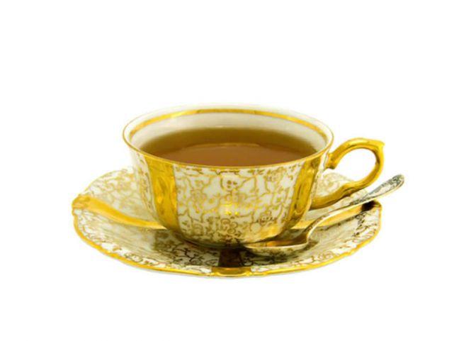 gold tea cup