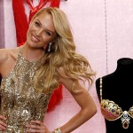 Victoria's Secret model Candice Swanepoel poses for photographers with the Royal Fantasy Bra gift set, valued at $10 million during a photo opportunity at the Victoria's Secret store in New York City
