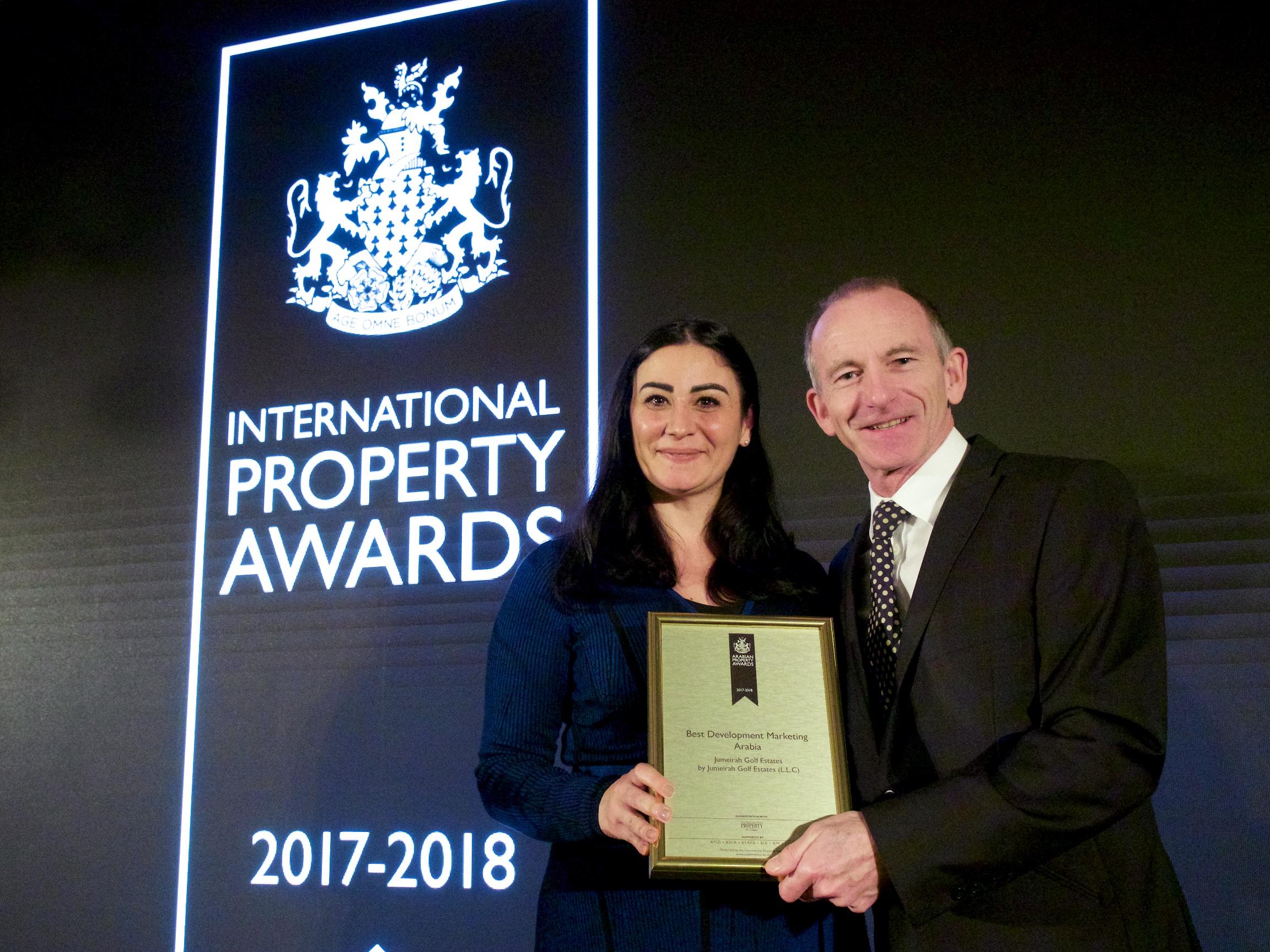 Jumeirah Golf Estates Wins International Property Award for Best International Development Marketing